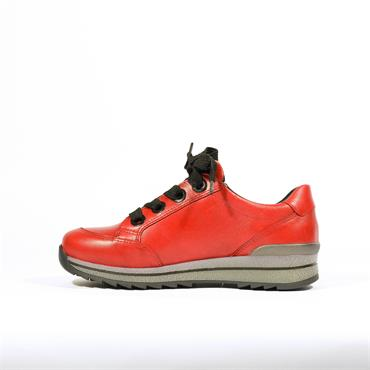Ara Osaka Laced Waterproof Trainer - Red Leather