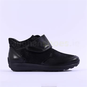 Ara Merano Velcro Strap Comfort Boot - Black Leather