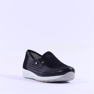 Ara Merano Perforated Slip On Shoe - Navy Combi