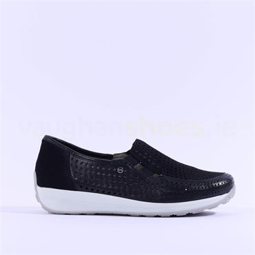 Ara Merano Perforated Slip On Shoe - Navy Combi