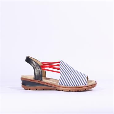 Ara Thin Strap Sandal Hawaii - White Red Navy
