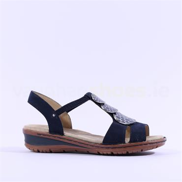 Ara Hawaii Sling Back Sandal Plates - Navy Nubuck