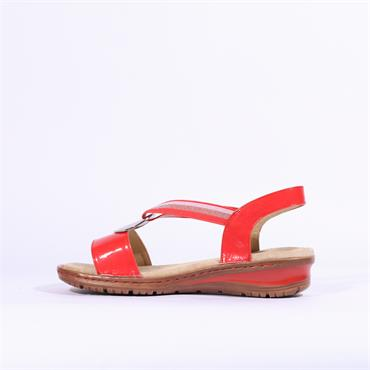 Ara Hawaii Sandal With Metal Detail - Coral Patent