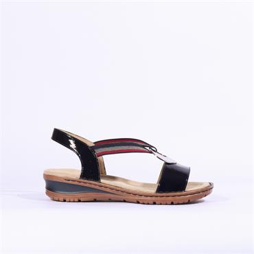 Ara Hawaii Sandal With Metal Detail - Navy Patent