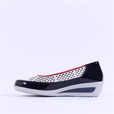 Ara Zurich Perforated Wedge - White Red Navy