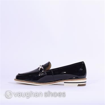 Ara Slip On Loafer Silver Buckle Kent - Navy Patent