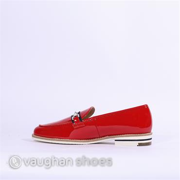 Ara Slip On Loafer Silver Buckle Kent - Red Patent