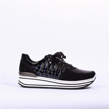 Ara Sapporo Laced Trainer With Side Zip - Black Blue Combi