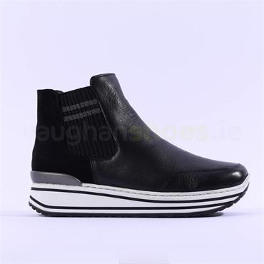 Ara Sapporo Platform Gusset Ankle Boot - Black Leather