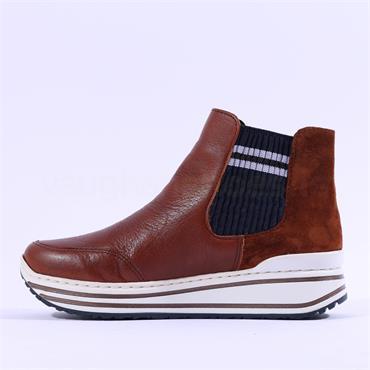 Ara Sapporo Platform Gusset Ankle Boot - Cognac Leather