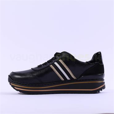 Ara Sapporo Platform Lace Trainer - Black Gold Leather