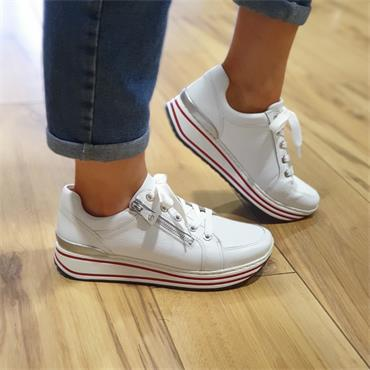 Ara Sapporo Platform Ribbon Zip Trainer - White Leather