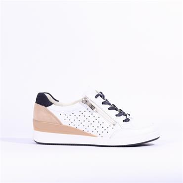 Ara Lazio Lace Up Trainer Side Zip Stars - White Navy Multi