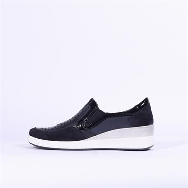 Ara Lazio Slip On Wedge Comfort Shoe - Navy