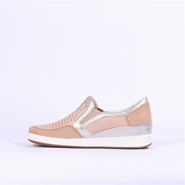 Ara Lazio Slip On Wedge Comfort Shoe - Nude Combi