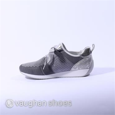 Ara Laced Runner With Knitted Upper - Grey/Silver