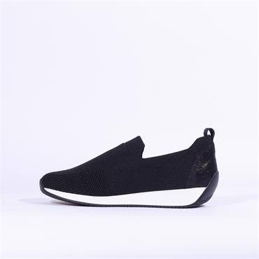Ara Knitted Slip On Trainer Issabon - Navy Fabric