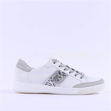 Ara Rom Ribbon Lace Trainer - White Silver