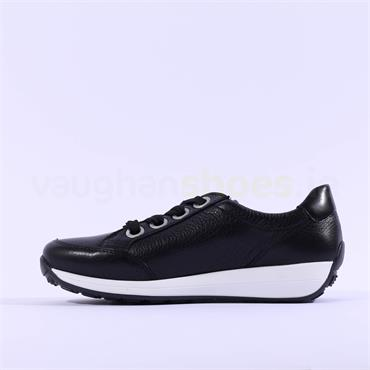Ara Osaka Ribbon laced Trainer Side Zip - Black Leather