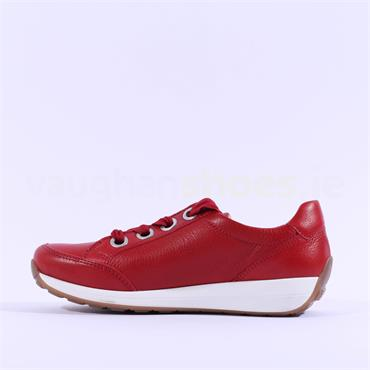 Ara Osaka Ribbon laced Trainer Side Zip - Red Leather