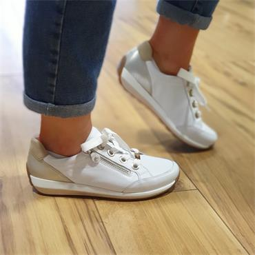 Ara Osaka Comfort Laced Trainer Side Zip - White Combi