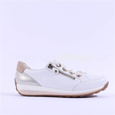 Ara Osaka Comfort Laced Trainer Side Zip - White Combi