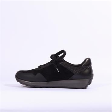 Ara Osaka Lace Up Trainer - Black Combi