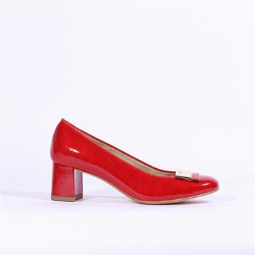 Ara Brighton Block Heel Court Shoe - Red