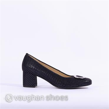 Ara Block Heel Court Shoe Buckle - Navy