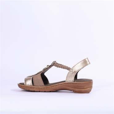 Ara Hawaii Low TBar Sandal Stud Detail - Taupe Multi