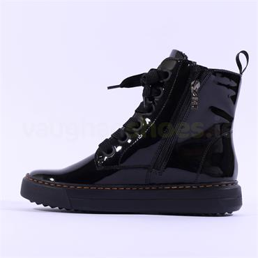 Ara Courtyard Thick Lace Up Boot - Black Patent