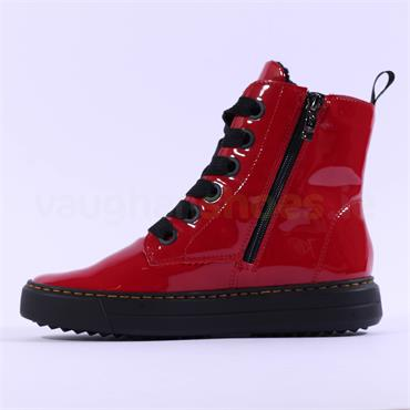 Ara Courtyard Thick Lace Up Boot - Red Patent