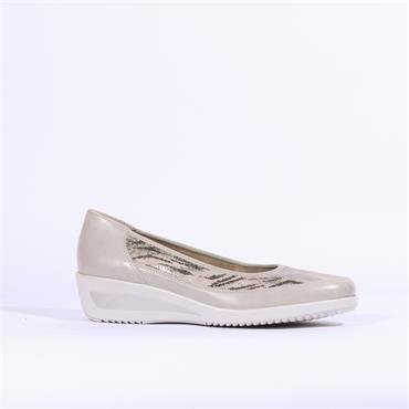 Ara Zurich Slip On Low Wedge - Grey Print Combi
