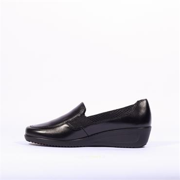 Ara Zurich Slip On Wedge - Black Leather