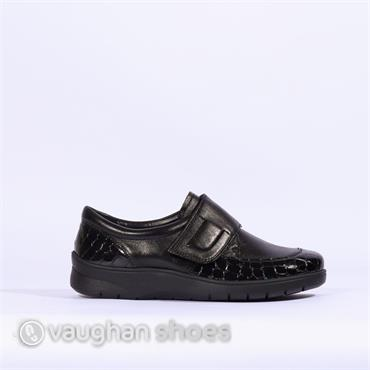 8aabcd3caa1 Ara Comfort Shoe Croc leather Velcro - Black ...