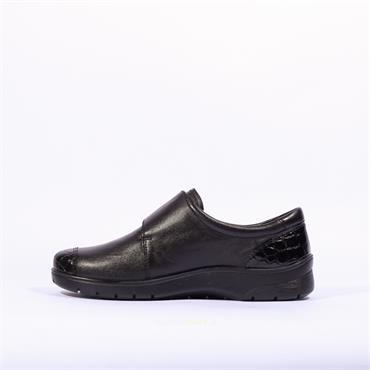 Ara Meran Shoe With Velcro Strap - Black Croc