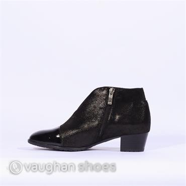 Ara V Cut Low Block Heel Toe Cap Boot - Black