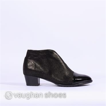 Ara V Cut Low Block Heel Toe Cap Boot - Black