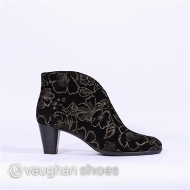Ara Ankle Boot With Floral Print Finish - Black Silver