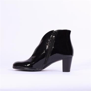 Ara Toulouse V Cut Block Heel Ankle Boot - Black Patent