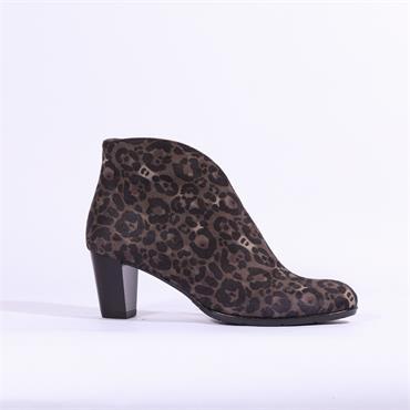 Ara Toulouse V Cut Block Heel Ankle Boot - Leopard Combi