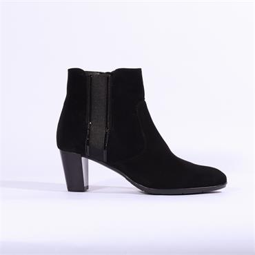 Ara Toulouse Gusset Panel Ankle Boot - Black Suede