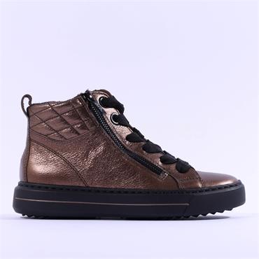 Ara Courtyard Twin Zip Laced Boot - Bronze Metallic Combi