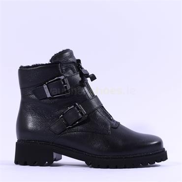 Ara Denver Front Zip Buckle Biker Boot - Black Leather