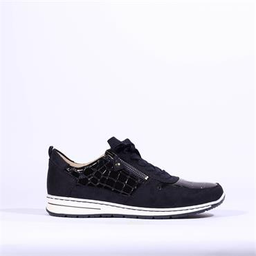 Ara Sapporo Laced Trainer With Side Zip - Navy Croc Combi