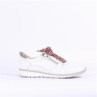 Ara Trainer With Side Zip Sapporo - White Leather