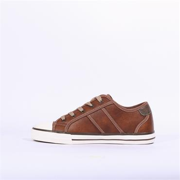 Mustang Laced Casual Toe Cap Trainer - Tan