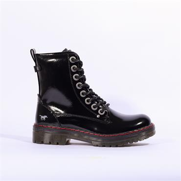 Mustang Patent Lace Up Military Boot - Black Patent