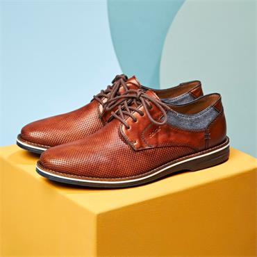 Rieker Men Laced Shoe Clarino - Brown Leather