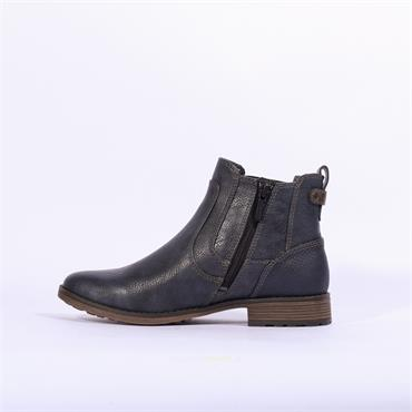 Mustang Flat Ankle Boot Side Gusset - Navy
